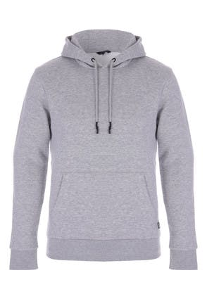 Mens Grey Pullover Hooded Sweater