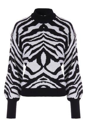 Womens Zebra Print Turtle Neck Jumper