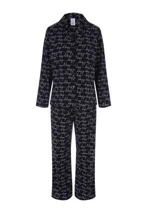 Womens Black Soft Touch Pyjama Set