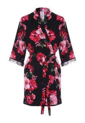 Womens Black Satin Floral Kimono