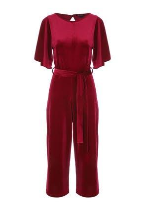 Womens Red Velvet Angel Sleeve Jumpsuit