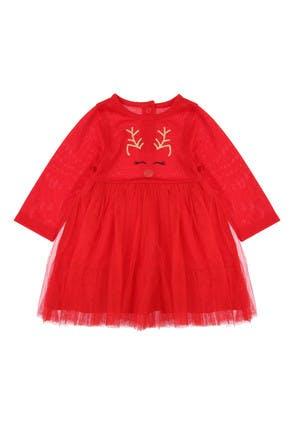 Baby Girls Red Reindeer Tutu Dress