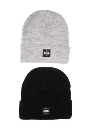 Older Boys 2pk Black Grey Beanie Hats