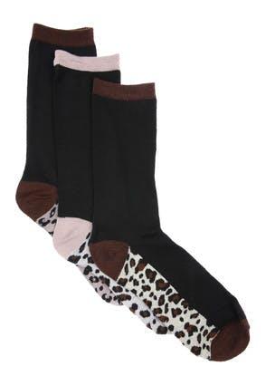 Womens 3pk Leopard Print Socks