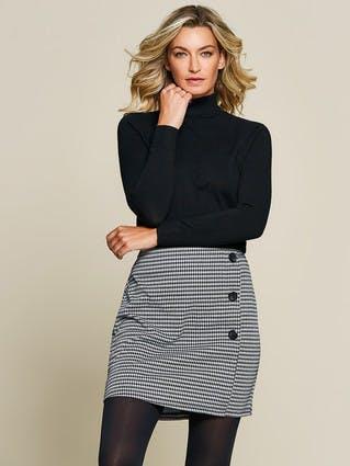 Womens Dogtooth Check Button Skirt
