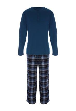 Men's Teal and Grey Check Pyjama Set