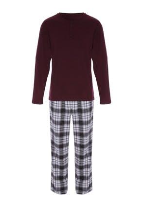 Mens Burgundy and Grey Check Pyjama Set