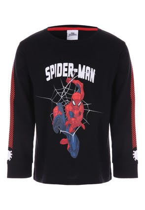 Younger Boys Black Spider-Man Long Sleeve Top