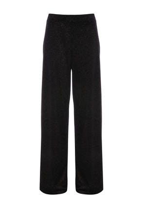 Womens Black Velvet Glitter Wide Leg Trousers
