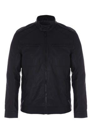 Mens Black PU Funnel Neck Biker Jacket