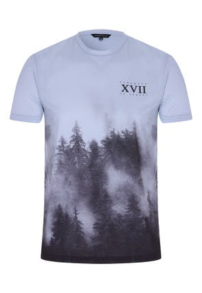 Mens Blue Tree Graphic T-Shirt