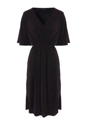 Womens Black Glitter Wrap Dress
