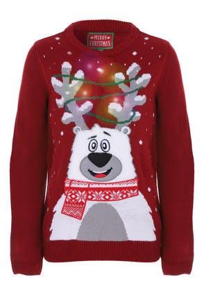 Older Kids Red Polar Bear Light Up Christmas Jumper