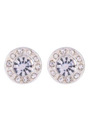 Womens Silver Large Diamante Stud Earrings