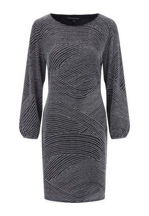 Womens Silver Sparkle Shift Dress