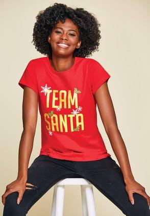 Womens Red Team Santa T-Shirt