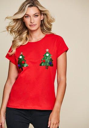 Womens Red Christmas Tree T-Shirt