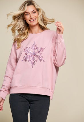 Womens Pink Sparkly Snowflake Sweatshirt