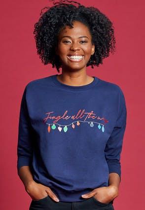 Womens Navy Jingle All The Way Christmas Sweatshirt