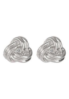 Womens Silver Knot Stud Earrings