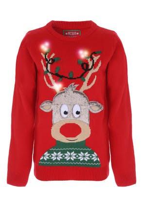Older Kids Red Rudolph Light Up Christmas Jumper