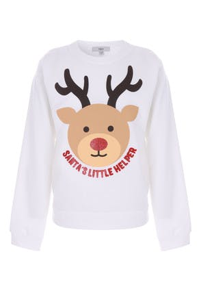 Older Girls Cream Reindeer Christmas Sweatshirt