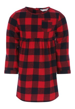 Younger Girls Red and Black Check Dress