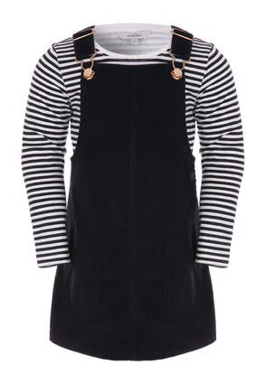 Younger Girls Black 2-in-1 Cord Dress