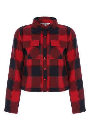 Older Girls Black and Red Check Shirt