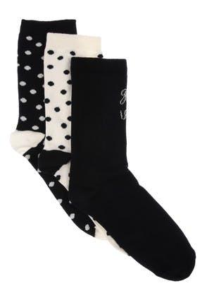 Womens 3pk Black Cream Slogan Socks