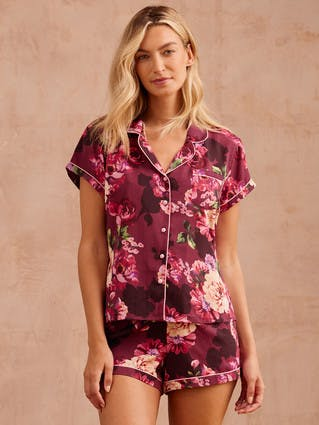 Womens Plum Floral Top and Shorts Pyjama Set