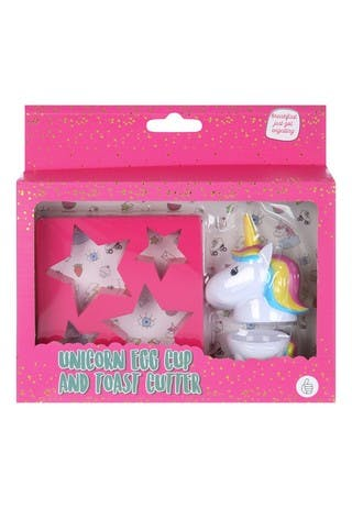 Pink Unicorn Egg Cup and Toast Cutter Set